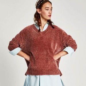 BRAND NEW Zara chenille oversized pink sweater